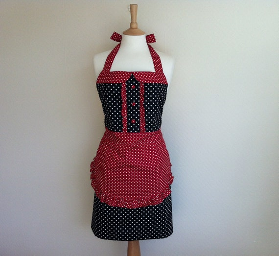 Retro apron with collar, white polka dot on a black fabric, white dots on a red background, fully lined.