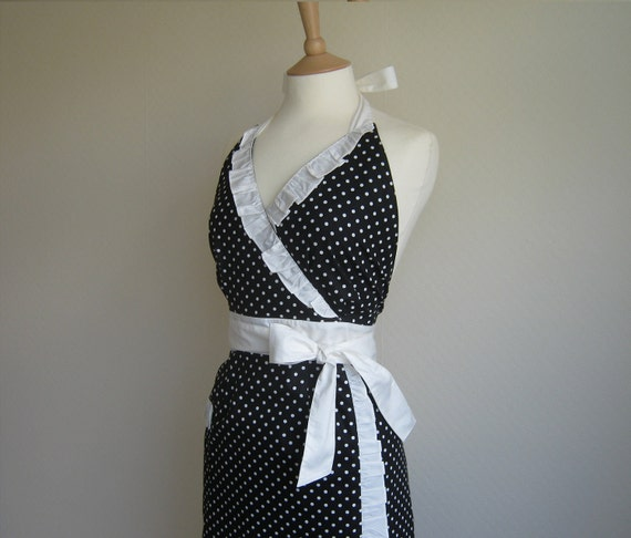 Spring Sale. Retro apron, White polka dots on black, 1950s inspired, fully lined.