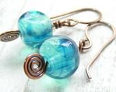 Handmade teal lampwork earrings with spiral headpins - copper and lampwork dangly earrings