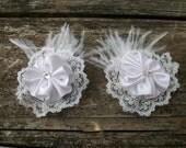 Classic White -- white lace rosette bridal shoe clips