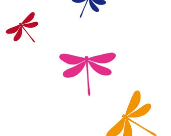 Dragonfly Wall Decals - 8 in 4 colors, Dragonfly Wall Art, Dragonfly Vinyl Wall Sticker, Dragonfly Vinyl Decals, Dragonflies Vinyl Decals