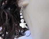 Pearl earrings with Rattlesnake vertebrae  (M)