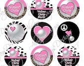 Instant Download  Pink Volleyball Girls Digital Bottlecap Images Digital Bottlecap Images