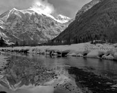 RiverBed over Ajax Mountain in Telluride, CO - Black and White - Free Shipping Ready to Ship