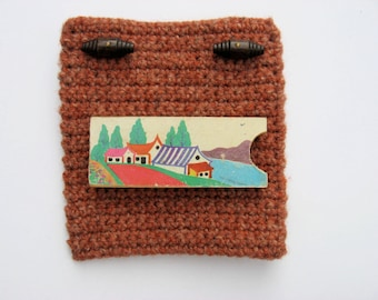 square pouch woolen case for cds or strings, etc.