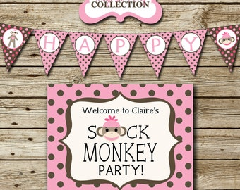 Pink Sock Monkey Birthday Party Pack - printable invitation, thank you card, banner, sign, party circles, favor tags, food drink labels