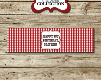 Red Gingham Cowboy Water Bottle Labels | Red Gingham Cowboy Water Bottle Wrappers | Western Cowgirl Cowboy Party Printables