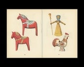 Toy Horse, Straw Woman, Chicken Antique Toy Print Illustrated By Emanuel Hercik
