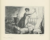 1939 Turning Out The Light By John Sloan, Woman,  Antique American Prints