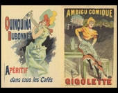 French Poster Art, Paris Flavored Liquore At All Cafes, And Paris Theater Gigolette