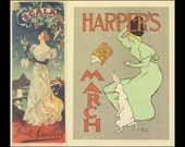 French Poster Art, Paris Every Evening Scala Music hall Yvette Guilbert, And Harpers Magazine Rabbit