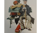 "Norman Rockwell Poster, "" Park Bench "" Man In Black Top Hat Watching Young Couple With His Dog In A Red Sweater, And "" Mistletoe "" Man In Red Cape, Post Magazine Cover"