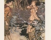 Halloween, The Allies Fairy Book, Goblins On A Witches Broom Fighting With A Man And A Woman, Arthur Rackham, USA, Vintage Children Print