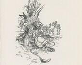 Gryphon, Lion With A Eagle's Head, Alice's Adventures In Wonderland, Lewis Carroll, Arthur Rackham, USA, Antique Children Print
