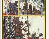 Dragon Slayer, Hunter, RED, The Gathering, Ian Miller, Printed In America, Antique Children Print, Once Upon A Time