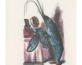 The Lobster Quadrille Blue Lobster Holds Brush, Alice In Wonderland, Lewis Carroll, John Tenniel, USA, 1978, Antique Children Print