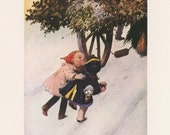 Little Girl Sisters Looking At Tree On Wagon, Bringing Home The Christmas Tree By Lawson Wood, Christmas, Antique Print, USA, 1975