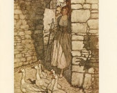 Grimms Fairy Tale, Goose Girl Stone Archway And Cat In Village, Arthur Rackham, Printed In America, Antique Children Print