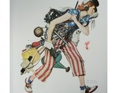 Norman Rockwell Poster, Home Front, Women War Workers, Patriotic American Flag, Post Magazine Cover