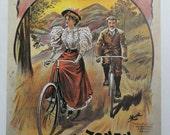 Vintage Bike Poster, Matador Cycles Riding Along Country Path, Fongers Rywielen Eenig Magazine Cycle, Bicycle  Print, Jack Rennert, USA