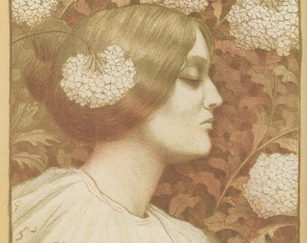 French Poster Art, Flower Girl, And Girl With Flowers In Her Hair