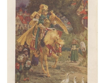1917 Fairy Tale, Prince And Princess Riding Horse Geese Carrying Treasure, Antique Children Print, New York, Decorative Paper