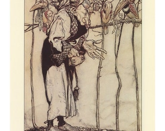 The Wizard With His Bird Helpers, And Elfin Revellers , Arthur Rackham, Printed In America, Antique Children Print