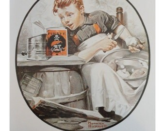 """Norman Rockwell Poster, """" On The High Seas """" Boy Pealing Potatoes And Reading A Pirate Book In The Kitchen, And """" A Night On The Town """" Teenagers In Love, Post Magazine Cover, Vintage Antique Print"""
