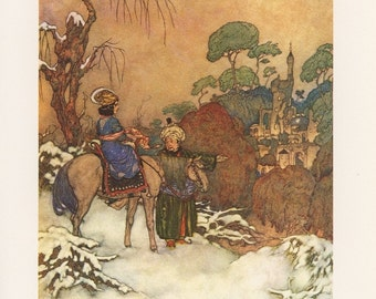 Beaty And The Beast, Princess Sees Castle For First Time, Edmund Dulac, USA, Antique Children Print
