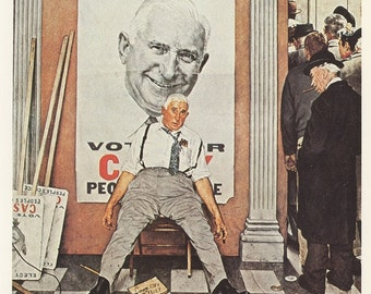 Norman Rockwell, Before And After, Election Day Casey , Post Magazine Cover, Made In Usa, America's Painter, Represents The Family Of 50's 60's 70's