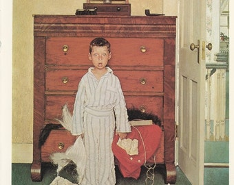 Norman Rockwell, Discovering Santa, Little Boy In Pajamas Find Outfit, Post Magazine Cover, Usa, America's Painter, Family Of 50's 60's 70's