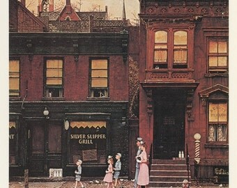 Norman Rockwell, Walking To Church On A City Street, Post Magazine Cover, Made In Usa, America's Painter, Family Of 50's 60's 70's
