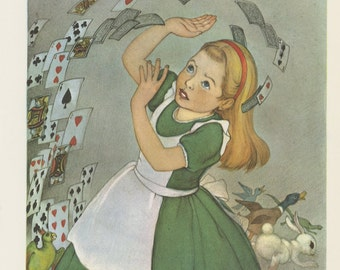 Alice With Flying Cards, Alice's Adventures In Wonderland, By Lewis Carroll, Marjorie Torrey, Printed In America, Antique Children Print