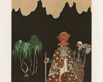 Widow's Son Talks To Strange Man In Colorful Robe And Fur Hat Mountains Willow Trees Behind, Kay Nielsen, Antique Children Print, USA, 1975
