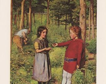 Boy Offers Strawberries To Little Girl, Woodman's Daughter, John Everett Millais, Victorian England Era, Antique Print, USA, 1975