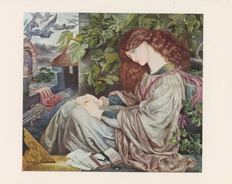 Princess Deep In Thought Sitting In Castle Tower Balcony, La Pia De Tolomei By Dante Gabriel Rossetti, Various Artist From Victorian England Era, Antique Children Print, Printed In USA, 1975