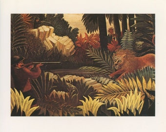 Man Hunting Roaring Lion In The Jungle, La Chasse Au Lion, Henri Rousseau, Antique Print, Printed In USA, 1975