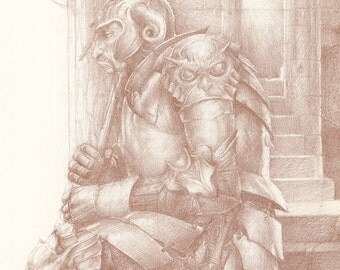 Castle Knight In Armor With Spear Sleeping On Steps, Alan Lee, Antique Print, Printed In USA, 1984