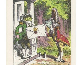 Fish Delivers Letter To Frog , Alice In Wonderland, By Lewis Carroll, John Tenniel, Printed In America, 1978, Antique Children Print