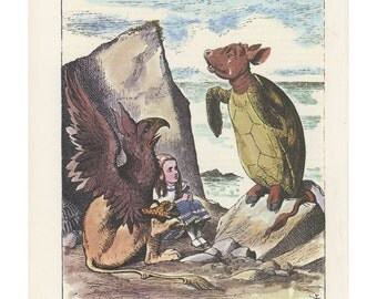 Alice And The Mock Turtle's Story With Gryphon, Alice In Wonderland, Lewis Carroll, John Tenniel, USA, 1978, Antique Children Print