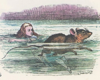 Alice Swimming In Tears With Mouse, Alice In Wonderland, Lewis Carroll, John Tenniel, USA, 1978, Antique Children Print