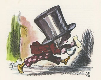 Mad Hatter Runs With Toast And Tea No Shoes, Alice In Wonderland, Lewis Carroll, John Tenniel, USA, 1978, Antique Children Print