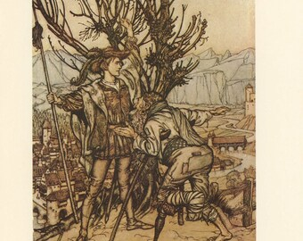 Grimms Fairy Tale, Prince Plans Rescue Sleeping Beauty And Old King Queen Baby, Arthur Rackham, Printed In America, Antique Children Print