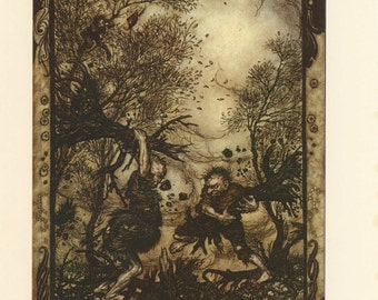 Grimms Fairy Tale, Giants Fight With Trees And Boy Scares Giant, Arthur Rackham, Printed In America, Antique Children Print