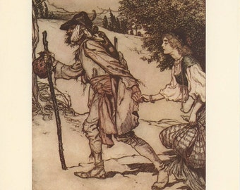 Grimms Fairy Tale, Beggar Kidnaps Princess And Boy Traps Old Man Beard, Arthur Rackham, Printed In America, Antique Children Print