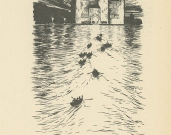 Grimms Fairy Tale, Boats Rowing In Water Toward Castle, Arthur Rackham, Printed In America, Antique Children Print