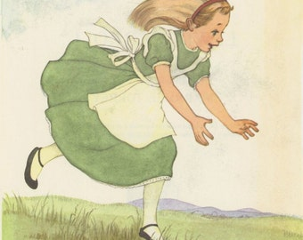 Little Alice, Alice Chasing White Rabbit, Alice's Adventures In Wonderland, Lewis Carroll, Marjorie Torrey, USA, Antique Children Print