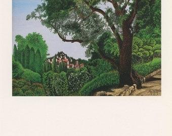 Garden Trees Around The Town, Le Gros Arbre, Maurice Grimaldi, Antique Print, London, 1974