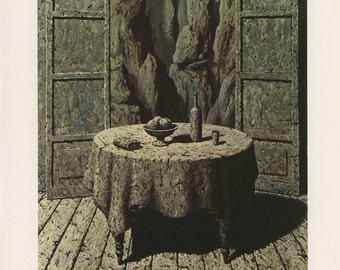 Memory Of A Journey III, Stone Table, Rene Magritte, Antique Print, USA, 1972
