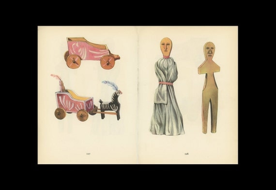 Toy Doll, Horse, And Carriage  Antique Toy Print Illustrated By Emanuel Hercik